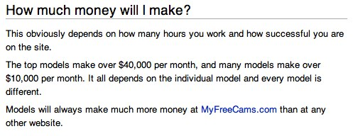 how much money can you make at myfreecams